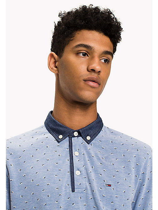 TOMMY JEANS Cotton Pique Polo - LIGHT INDIGO / FLAG PRINT - TOMMY JEANS Polo Shirts - main image