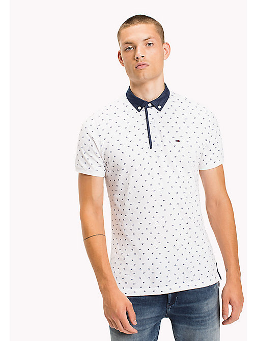 TOMMY JEANS Cotton Pique Polo - CLASSIC WHITE / FLAG PRINT - TOMMY JEANS Polo Shirts - main image
