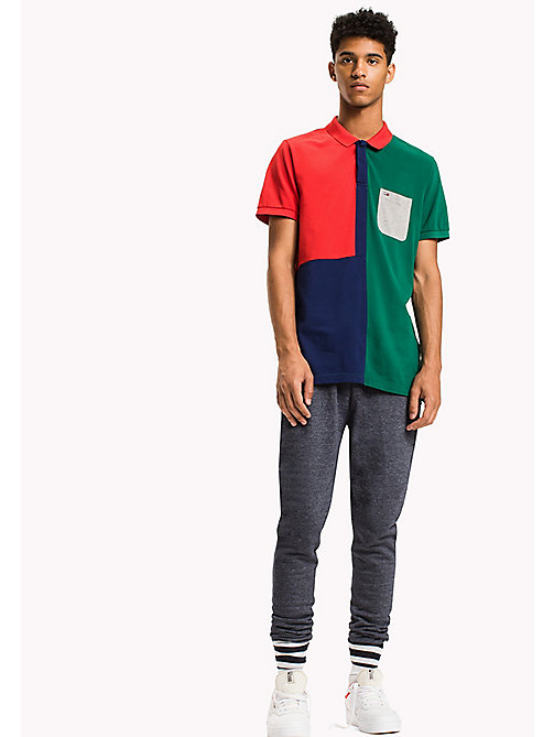 TOMMY JEANS Cotton Pique Polo - EVERGREEN / MULTI - TOMMY JEANS Polo Shirts - main image