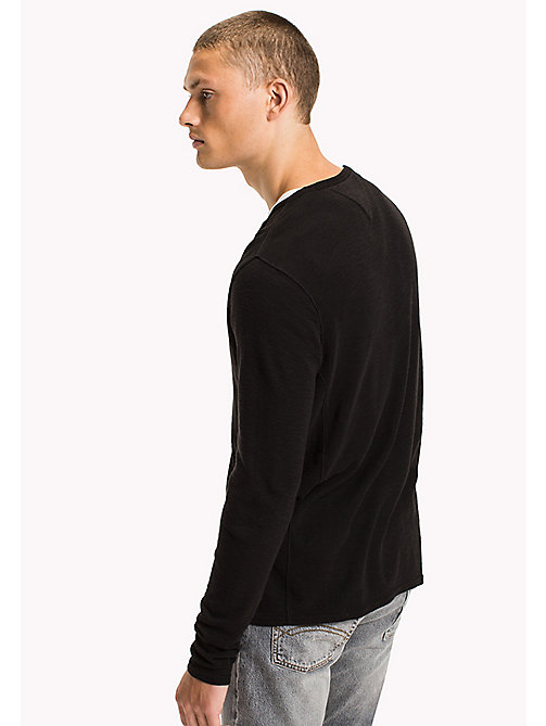 TOMMY JEANS Cotton Waffle Knit Shirt - TOMMY BLACK - TOMMY JEANS T-Shirts & Polos - detail image 1