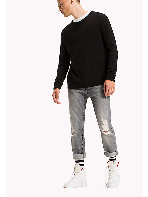 TOMMY JEANS Cotton Waffle Knit Shirt - TOMMY BLACK - TOMMY JEANS T-Shirts & Polos - main image