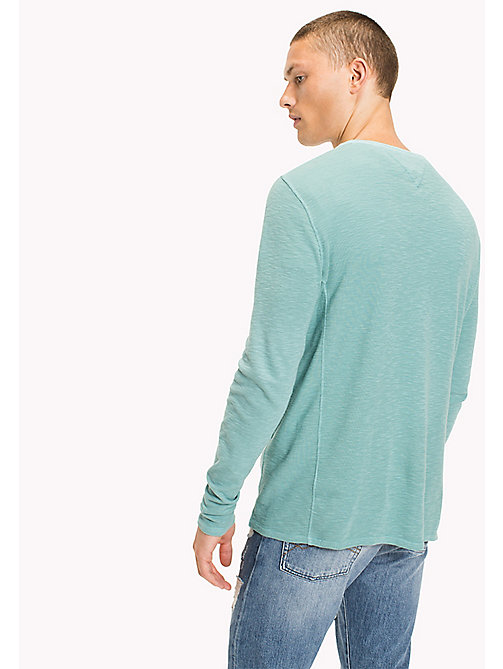 TOMMY JEANS Cotton Waffle Knit Shirt - CAMEO BLUE - TOMMY JEANS T-Shirts & Polos - detail image 1