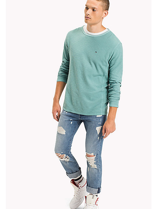 TOMMY JEANS Cotton Waffle Knit Shirt - CAMEO BLUE - TOMMY JEANS T-Shirts & Polos - main image