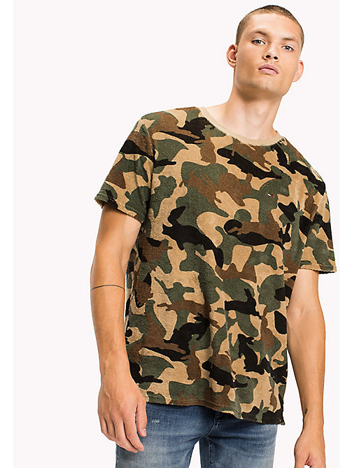 TOMMY JEANS Cotton Camouflage Shirt - CAMO PRINT - TOMMY JEANS T-Shirts & Polos - main image