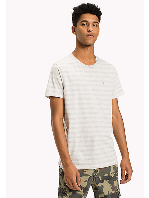 TOMMY JEANS Jersey Striped T-Shirt - LT GREY HTR - TOMMY JEANS T-Shirts & Polos - main image