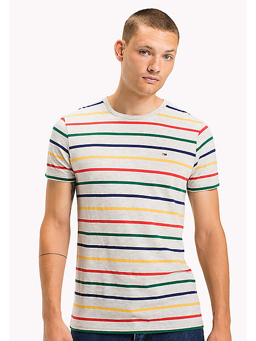 TOMMY JEANS Jersey Striped T-Shirt - LT GREY HTR / MULTI - TOMMY JEANS MEN - main image