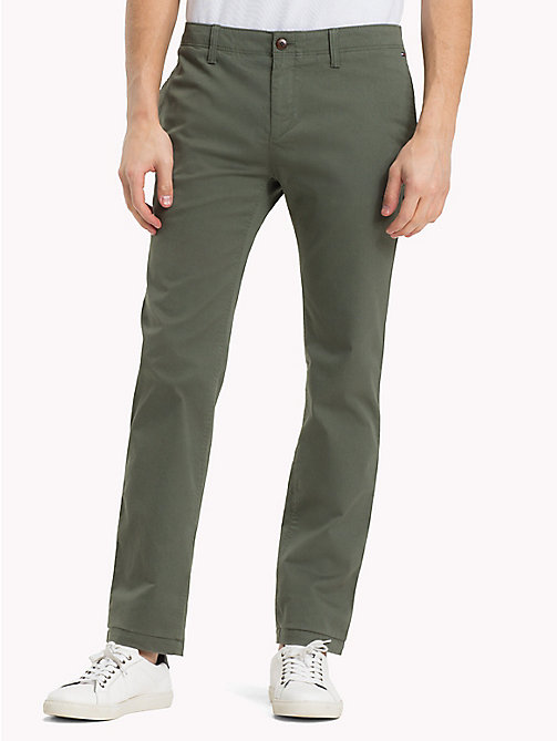 TOMMY JEANS Cotton Twill Slim Fit Chinos - THYME - TOMMY JEANS MEN - main image