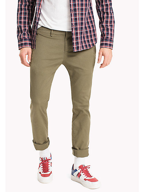 TOMMY JEANS Cotton Twill Slim Fit Chinos - DEEP LICHEN - TOMMY JEANS Clothing - main image