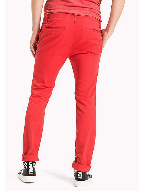 TOMMY JEANS Cotton Twill Slim Fit Chinos - RACING RED - TOMMY JEANS Clothing - detail image 1