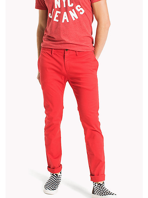 TOMMY JEANS Cotton Twill Slim Fit Chinos - RACING RED - TOMMY JEANS Trousers - main image