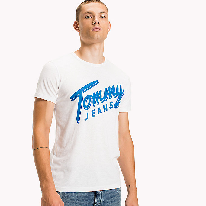 TOMMY JEANS Cotton Blend Logo T-Shirt - BLACK IRIS - TOMMY JEANS Men - main image