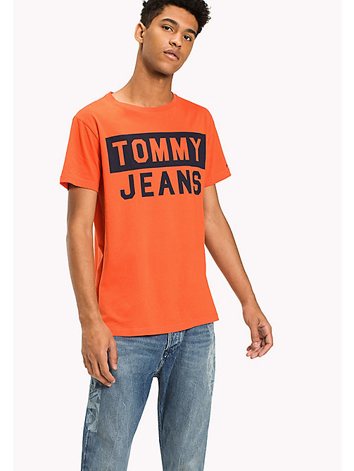 TOMMY JEANS Organic Cotton Logo T-Shirt - SPICY ORANGE - TOMMY JEANS T-Shirts - main image