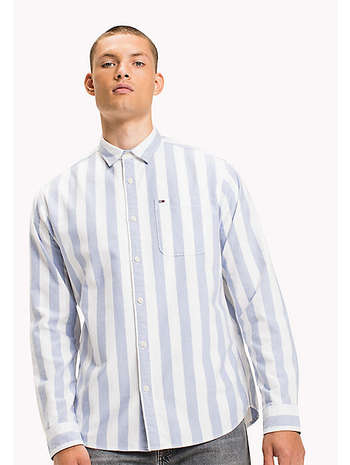 TOMMY JEANS Cotton Regular Fit Striped Shirt - CLASSIC WHITE - TOMMY JEANS Shirts - main image