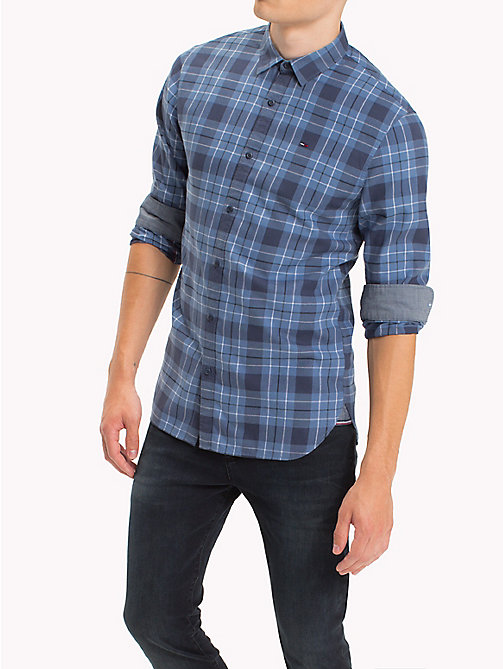 TOMMY JEANS Cotton Regular Fit Checkered Shirt - BLUE HORIZON - TOMMY JEANS Shirts - main image