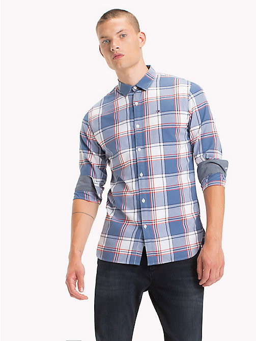 TOMMY JEANS Cotton Regular Fit Checkered Shirt - SPICY ORANGE - TOMMY JEANS Shirts - main image