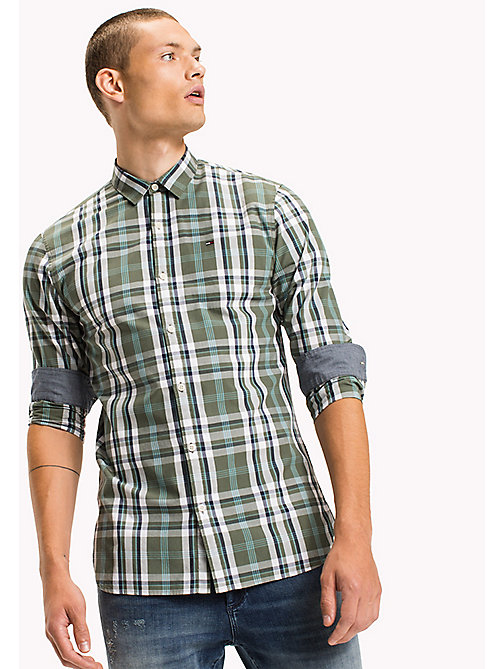 TOMMY JEANS Poplin Regular Fit Checkered Shirt - THYME - TOMMY JEANS Shirts - main image