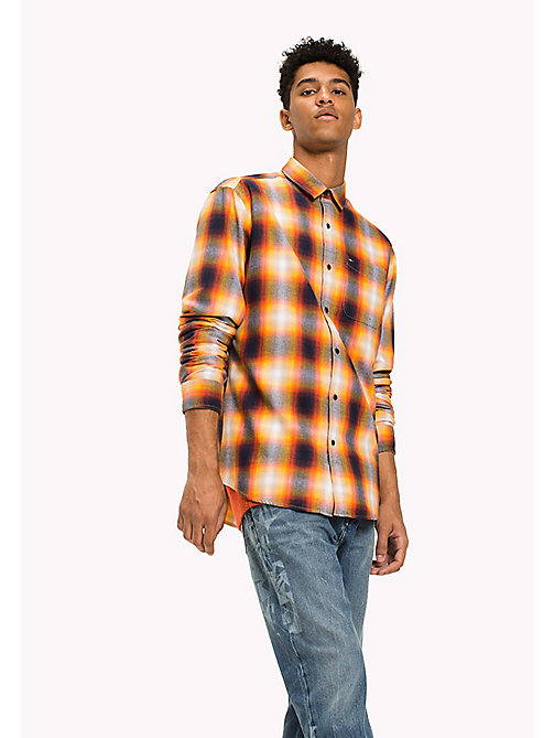 TOMMY JEANS Cotton Twill Regular Fit Checkered Shirt - ARTISANS GOLD - TOMMY JEANS Shirts - main image