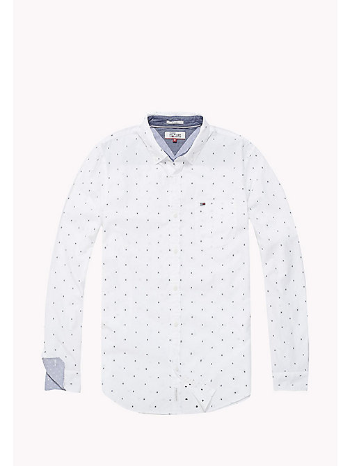 TOMMY JEANS Cotton Dobby Slim Fit Shirt - CLASSIC WHITE - TOMMY JEANS MEN - detail image 1