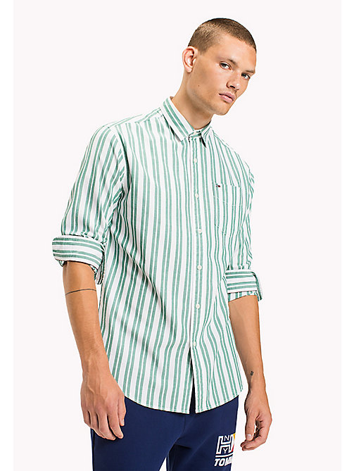 TOMMY JEANS Cotton Dobby Regular Fit Shirt - EVERGREEN - TOMMY JEANS Shirts - main image