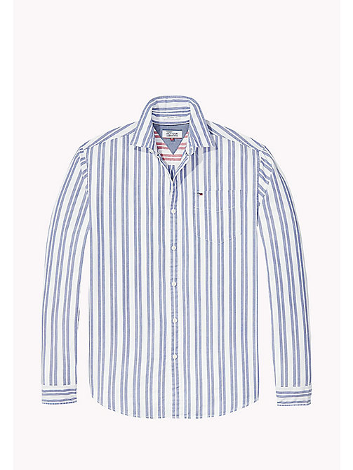 TOMMY JEANS Cotton Dobby Regular Fit Shirt - BLUE DEPTHS - TOMMY JEANS Shirts - detail image 1