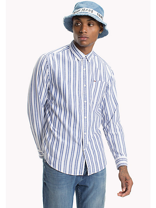 TOMMY JEANS Cotton Dobby Regular Fit Shirt - BLUE DEPTHS - TOMMY JEANS Shirts - main image