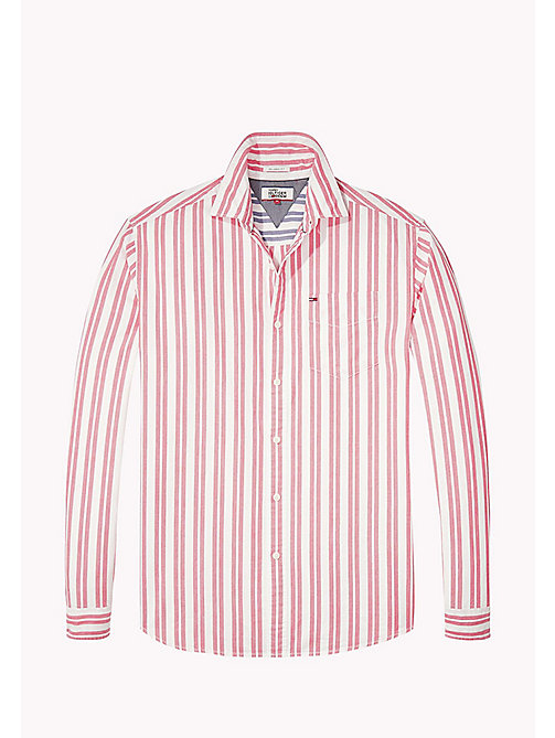 TOMMY JEANS Cotton Dobby Regular Fit Shirt - RACING RED - TOMMY JEANS Shirts - detail image 1