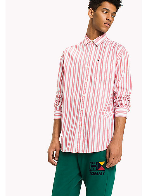 TOMMY JEANS Cotton Dobby Regular Fit Shirt - RACING RED - TOMMY JEANS Shirts - main image