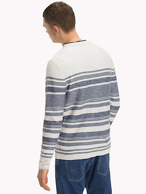 TOMMY JEANS Cotton Striped Jumper - MARSHMALLOW / BLUE HORIZON - TOMMY JEANS Clothing - detail image 1