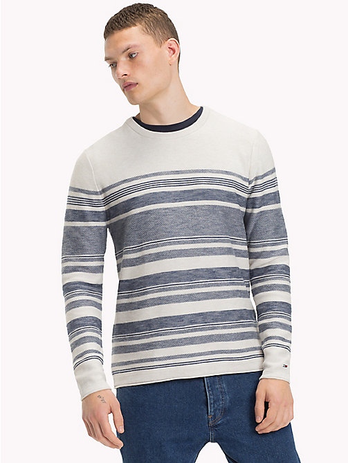 TOMMY JEANS Cotton Striped Jumper - MARSHMALLOW / BLUE HORIZON - TOMMY JEANS Knitwear - main image