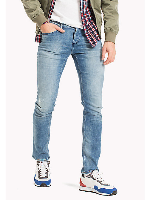 TOMMY JEANS Distressed Slim Fit Jeans - DENVER LIGHT BLUE COMFORT - TOMMY JEANS MEN - main image