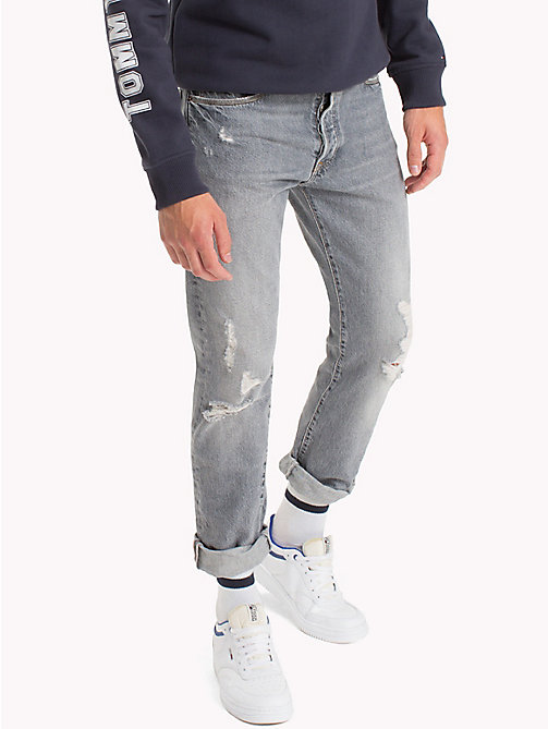 TOMMY JEANS Straight Fit Jeans - DUST GREY RIGID DESTRUCTED - TOMMY JEANS Jeans - main image