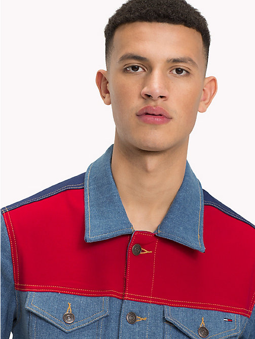 TOMMY JEANS Colour Block Denim Trucker - COLOR BLOCK MID BLUE COMFORT - TOMMY JEANS Coats & Jackets - detail image 1