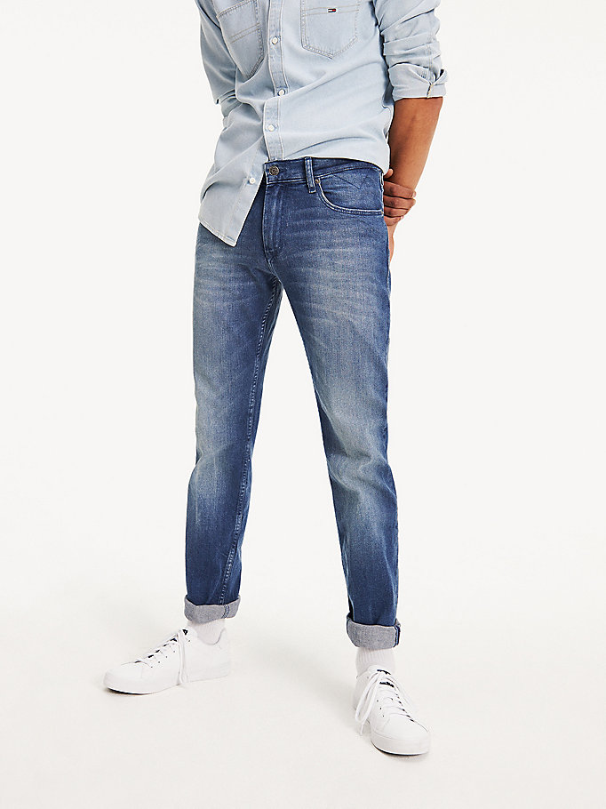 denim light wash straight fit jeans for men tommy jeans