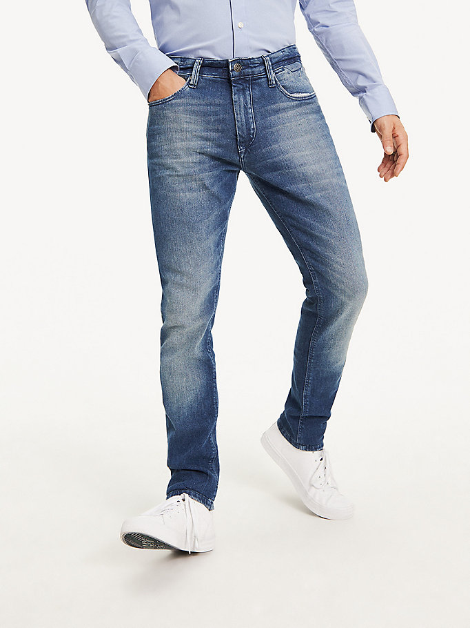 denim tapered slim fit jeans aus denim für herren - tommy jeans