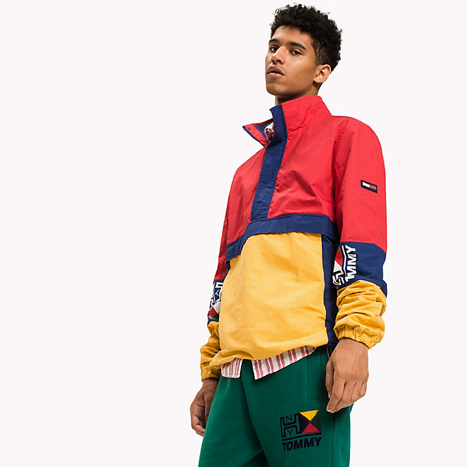 TOMMY JEANS Cotton Retro Pullover Jacket - BLUE DEPTHS / MULTI - TOMMY JEANS Clothing - main image