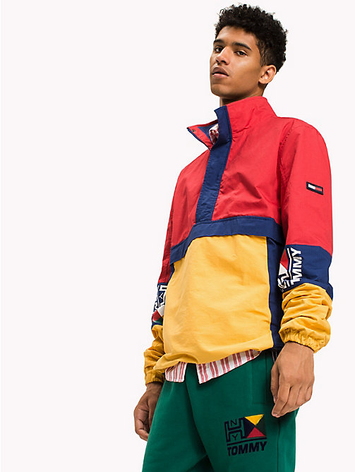 TOMMY JEANS Cotton Retro Pullover Jacket - RACING RED / MULTI - TOMMY JEANS Coats & Jackets - main image