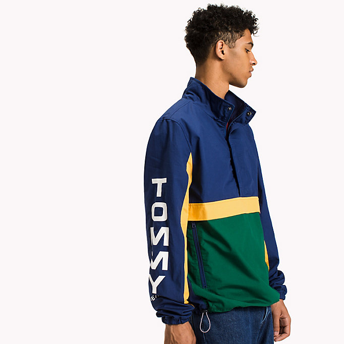 TOMMY JEANS Cotton Retro Pullover Jacket - RACING RED / MULTI - TOMMY JEANS Clothing - main image