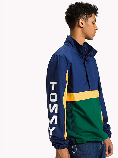 TOMMY JEANS Cotton Retro Pullover Jacket - EVERGREEN / MULTI - TOMMY JEANS Coats & Jackets - main image