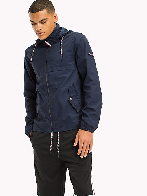 TOMMY JEANS Cotton Canvas Zipped Anorak - BLACK IRIS - TOMMY JEANS MEN - main image