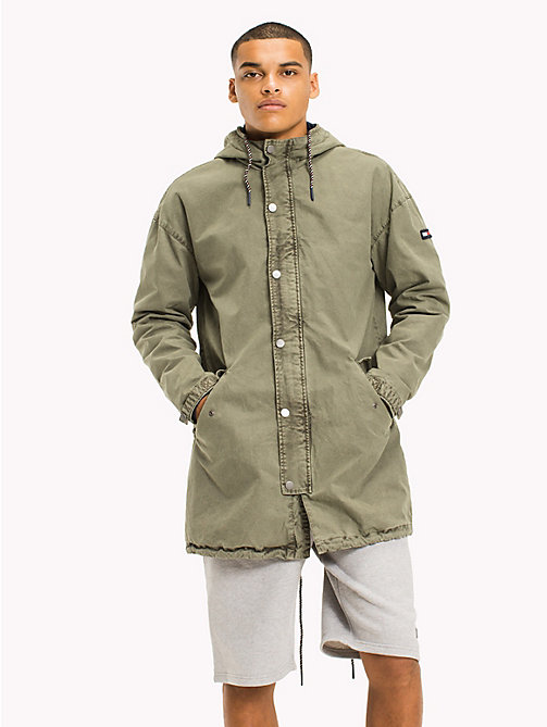 TOMMY JEANS Cotton Canvas Lightweight Parka - DEEP LICHEN - TOMMY JEANS Coats & Jackets - main image