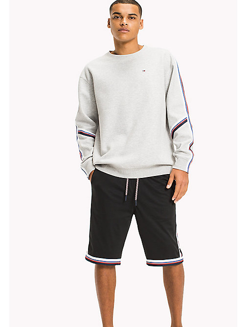 TOMMY JEANS Racing Stripe Sweatshirt - LT GREY HTR - TOMMY JEANS MEN - main image