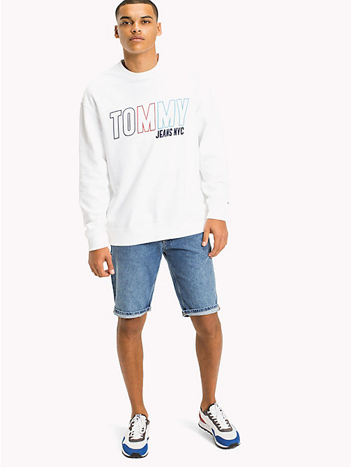 TOMMY JEANS Vintage Graphic Crew Jumper - CLASSIC WHITE - TOMMY JEANS MEN - main image