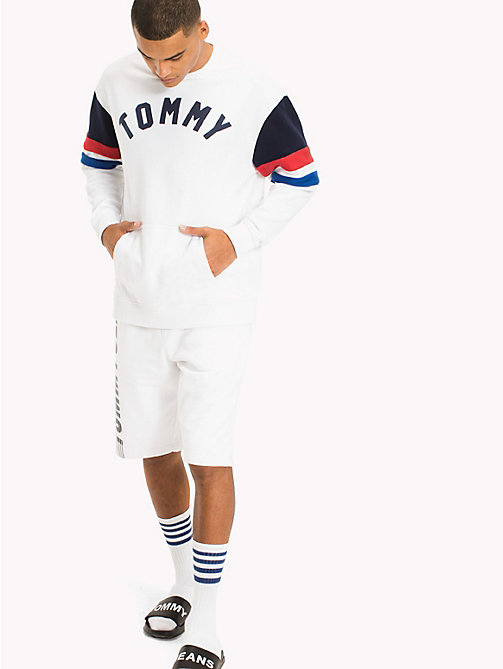 Colour-Blocked Relaxed Fit Sweatshirt - CLASSIC WHITE MULTI - TOMMY JEANS Clothing - main image