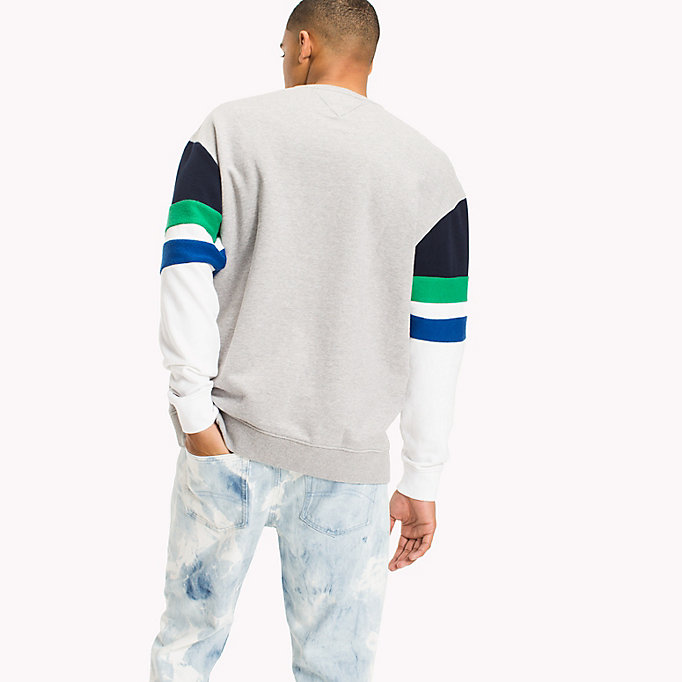 TOMMY JEANS Colour-Blocked Relaxed Fit Sweatshirt - CLASSIC WHITE / MULTI - TOMMY JEANS Men - detail image 1