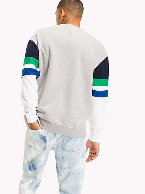 TOMMY JEANS Colour-Blocked Relaxed Fit Sweatshirt - LT GREY HTR / MULTI - TOMMY JEANS MEN - detail image 1