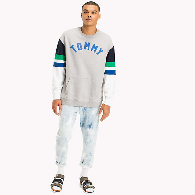 TOMMY JEANS Colour-Blocked Relaxed Fit Sweatshirt - CLASSIC WHITE MULTI - TOMMY JEANS Clothing - main image