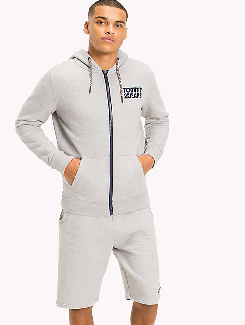 TOMMY JEANS Regular Fit Zip Hoodie - LT GREY HTR - TOMMY JEANS MEN - main image