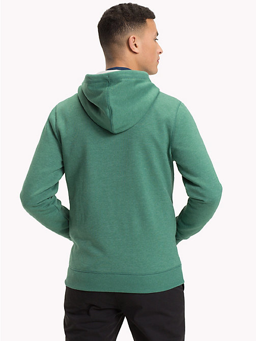 TOMMY JEANS Fleece Zip-Thru Hoody - HUNTER GREEN - TOMMY JEANS Sweatshirts & Hoodies - detail image 1