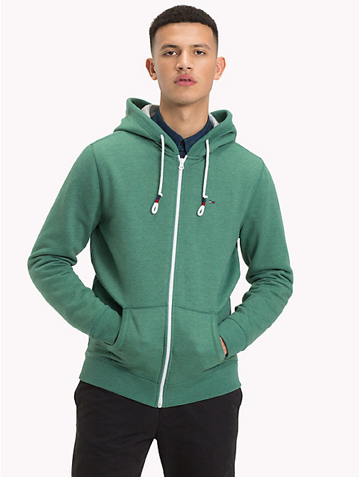 TOMMY JEANS Fleece Zip-Thru Hoody - HUNTER GREEN - TOMMY JEANS Sweatshirts & Hoodies - main image