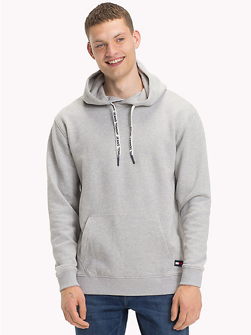 TOMMY JEANS Cotton Terry Hoodie - LT GREY HTR - TOMMY JEANS Sweatshirts & Hoodies - main image